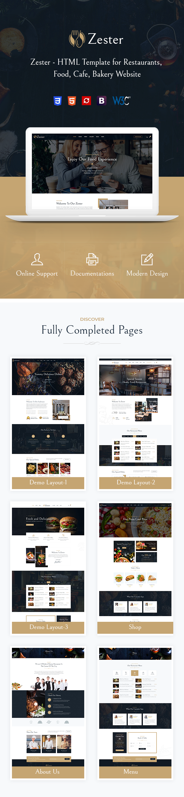 Zester Restaurant and Cafe HTML5 Template